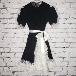 Vintage Velvet and Lace Girls Dress